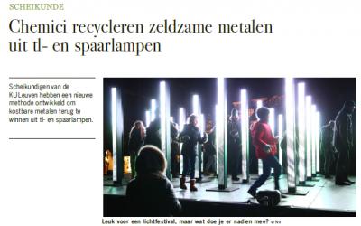 Chemici recycleren zeldzame metalen uit tl en spaarlampen (De Standaard)