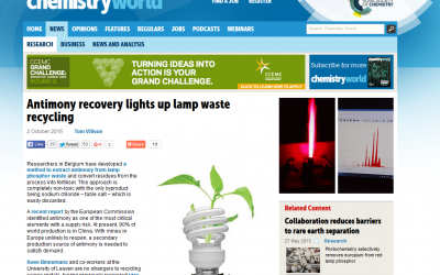 Antimony recovery lights up lamp waste recycling (Chemistry World)