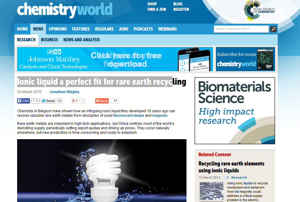 Ionic liquid a perfect fit for rare earth recycling (Chemistry World)