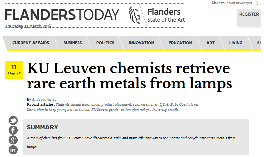 KU Leuven chemists retrieve rare earth metals from lamps (Flanders Today)