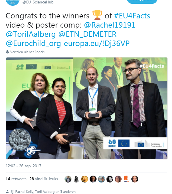 DEMETER video wins prize during EC JRC conference