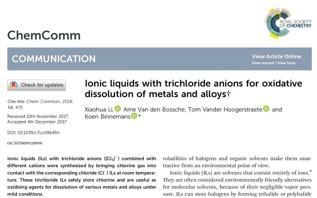 Trichloride ionic liquids for dissolving metals
