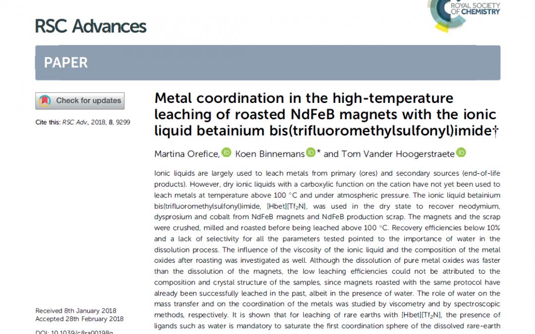 Ionic liquid-based solvoleaching of NdFeB magnets
