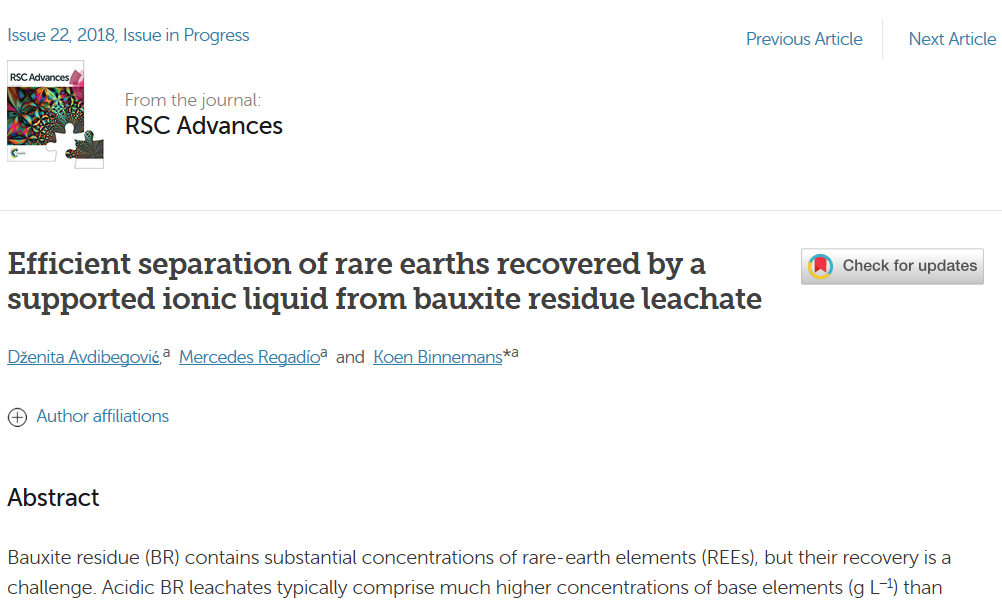 Separation of REEs from bauxite residue leachate