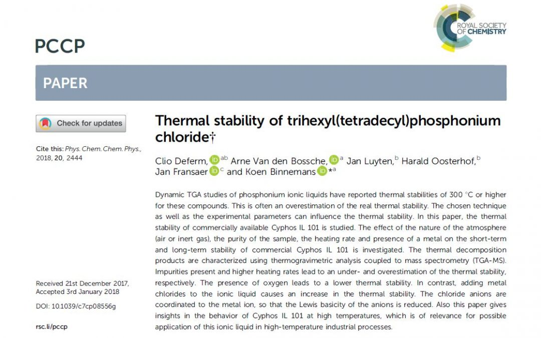 Thermal stability of ionic liquid Cyphos IL 101