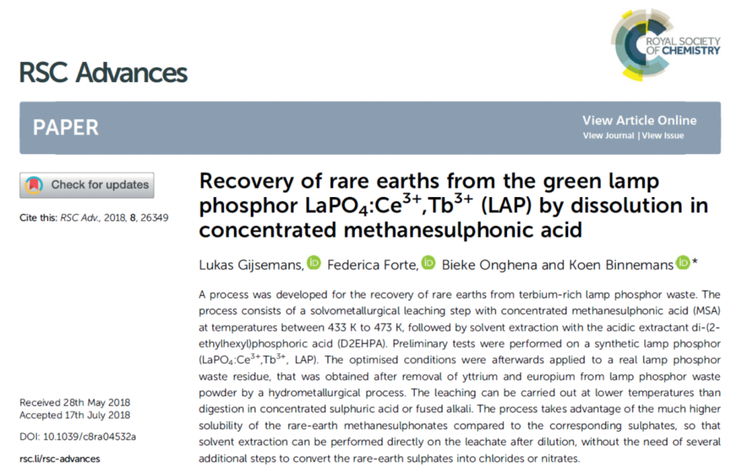MSA: a green solvent for REE recovery