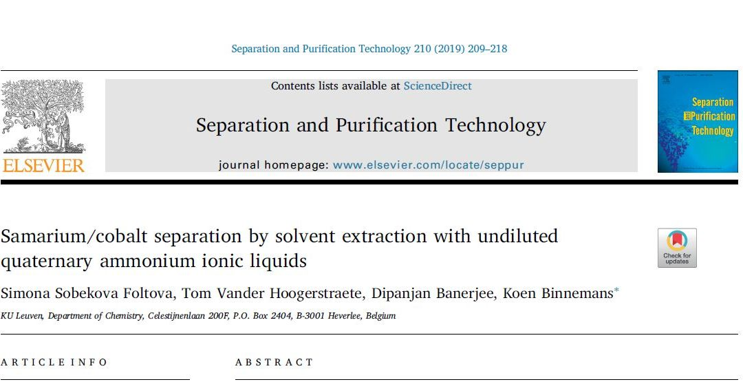 Novel Sm/Co separation process for SmCo magnets