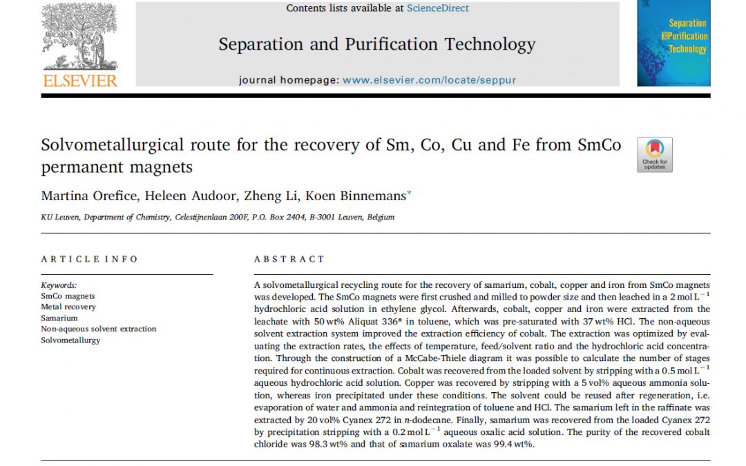 Solvometallurgical recovery of metals from SmCo magnets