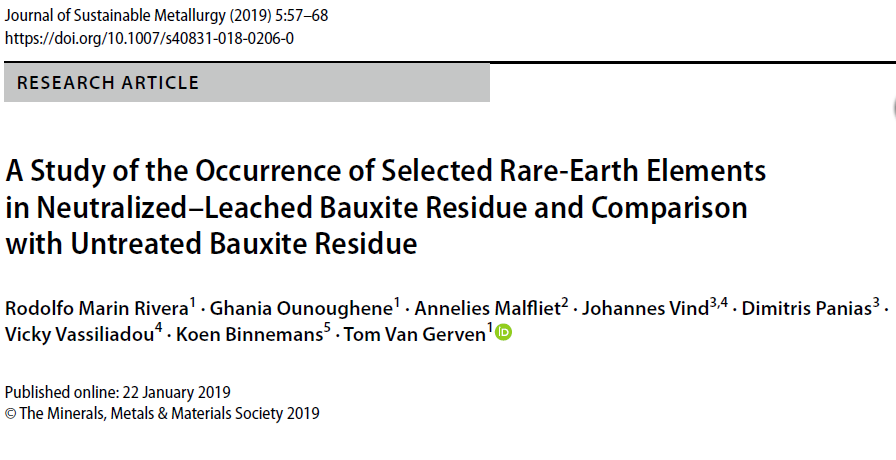Occurrence of rare earths in post-processed bauxite residue